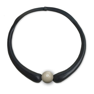 Black Embossed Leather Necklace + Little Ceramic Button