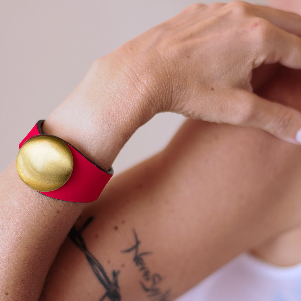 Red Leather Bracelet + Metal Button
