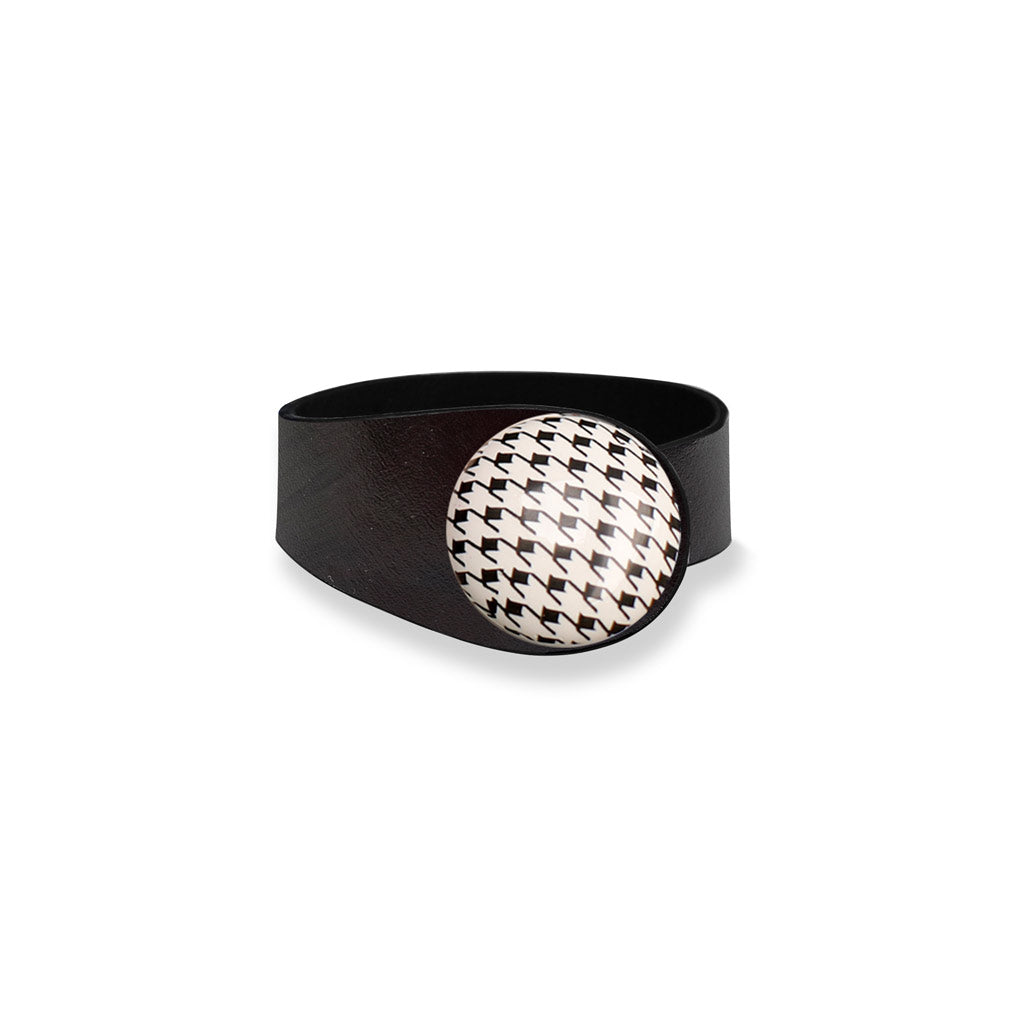 Deep Black Leather Bracelet + Hound tooth Ceramic Button