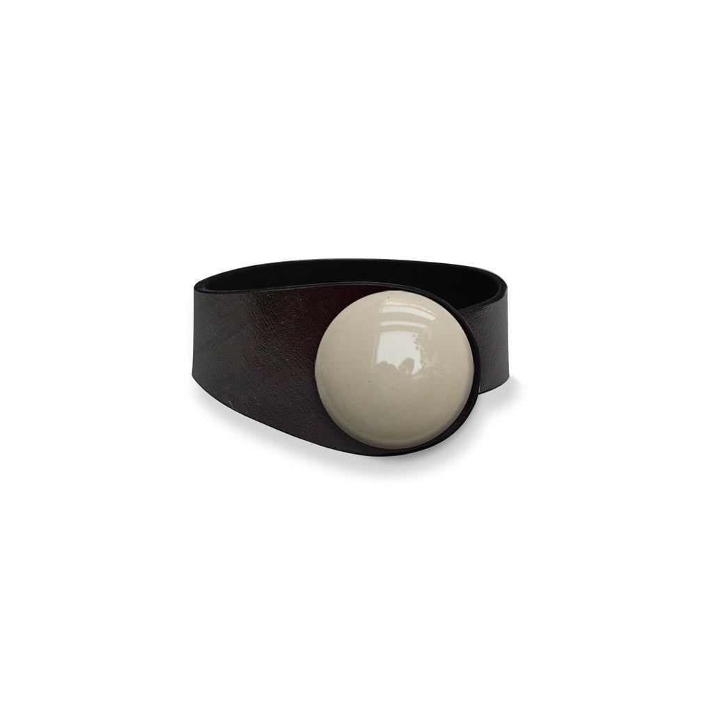 Deep Black Leather Bracelet +Beige Ceramic Button