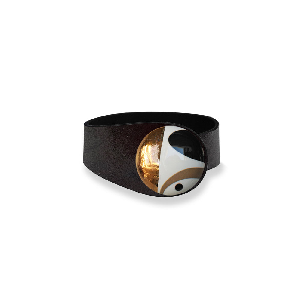 Deep Black Leather Bracelet + White Deco Ceramic Button
