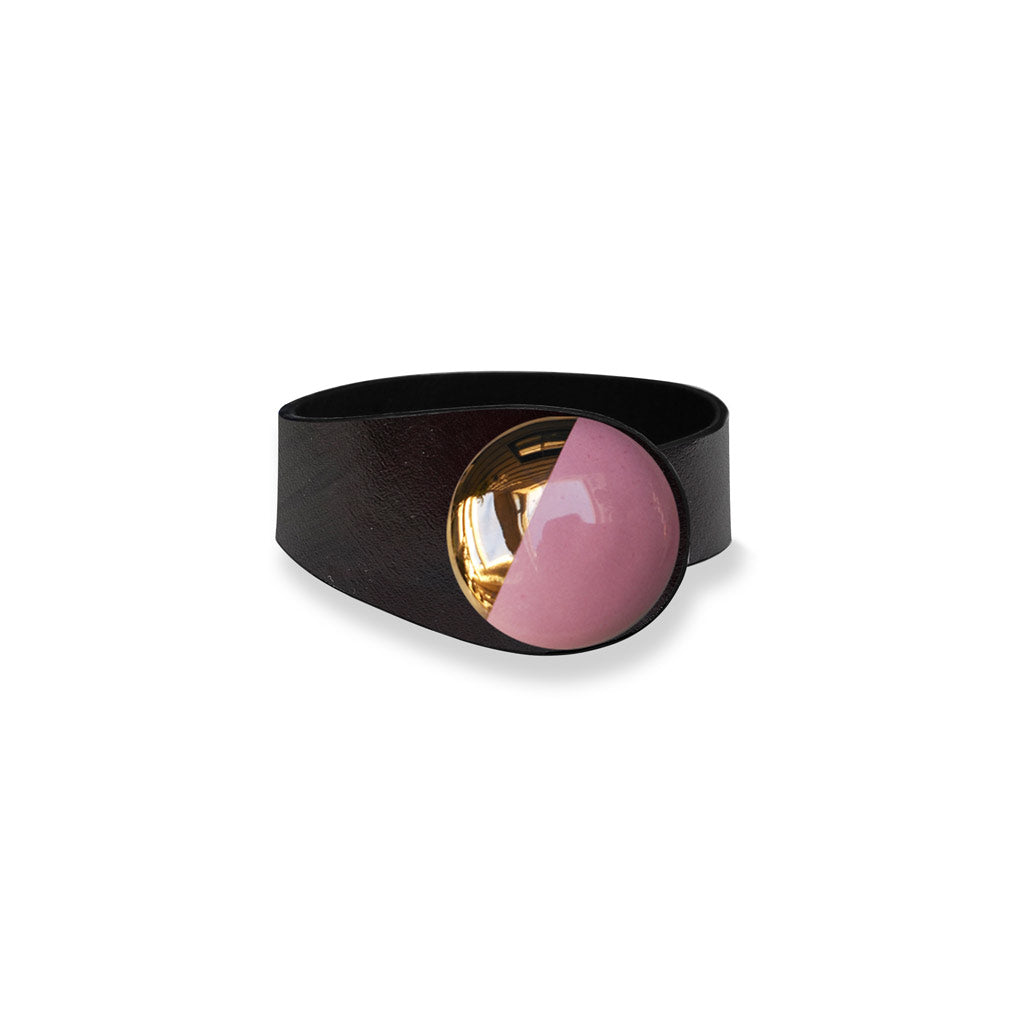 Deep Black Leather Bracelet + Pink&Gold Ceramic Button