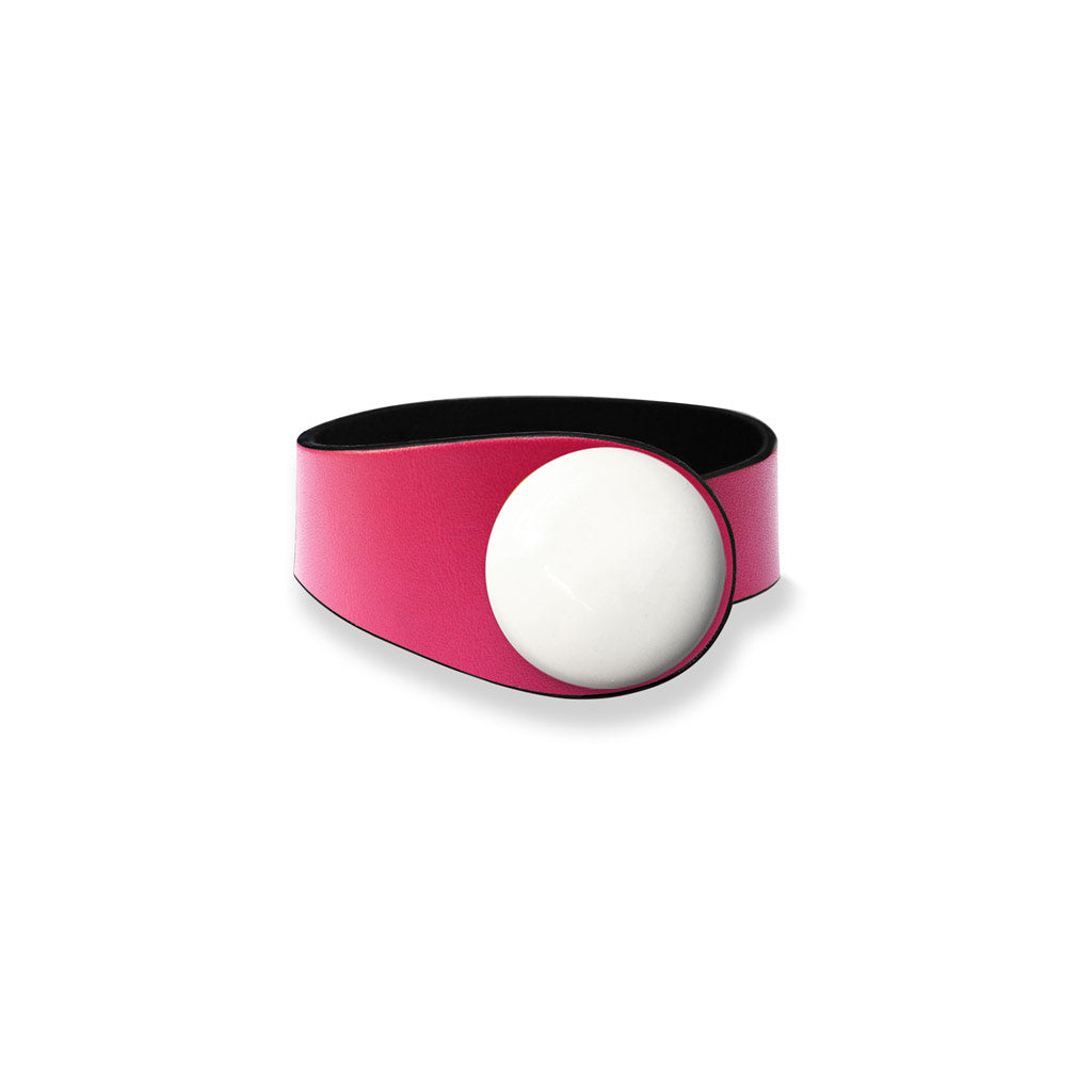 Fucsia Leather Bracelet + Ceramic Button
