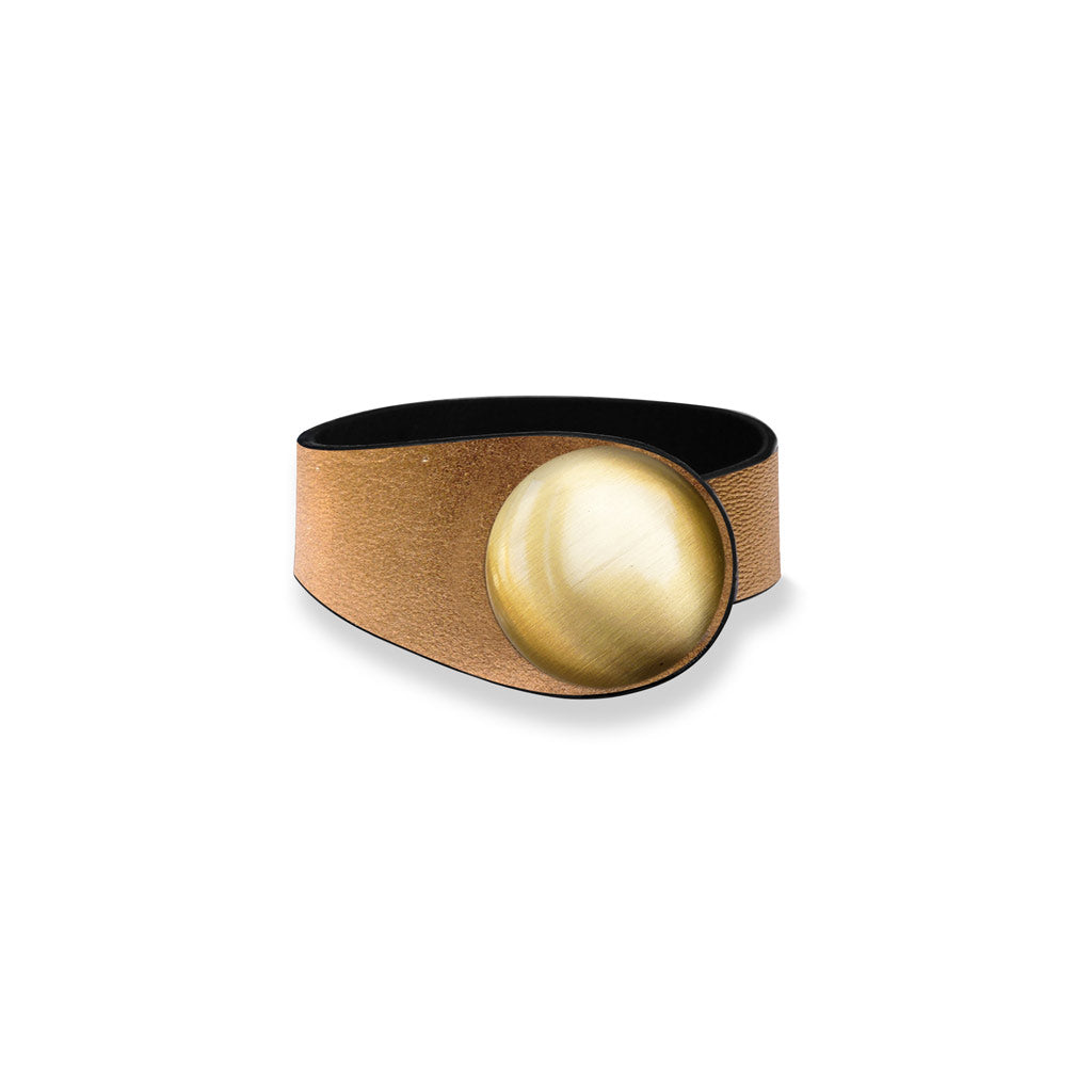 Gold Leather Bracelet + Metal Button