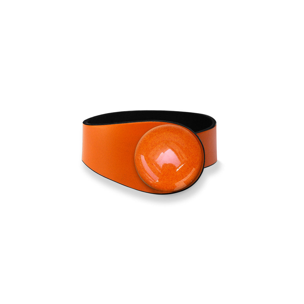 Orange Leather Bracelet + Ceramic Button