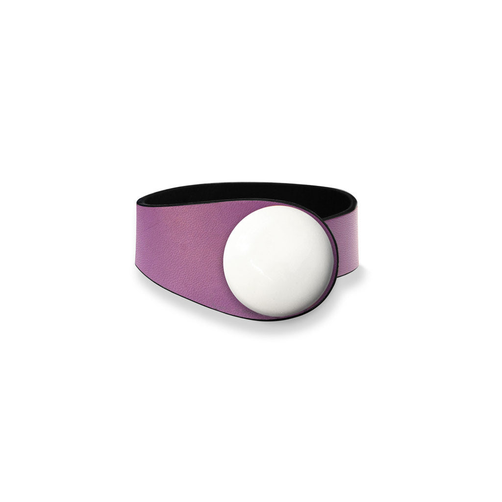 Violet Leather Bracelet + Ceramic Button