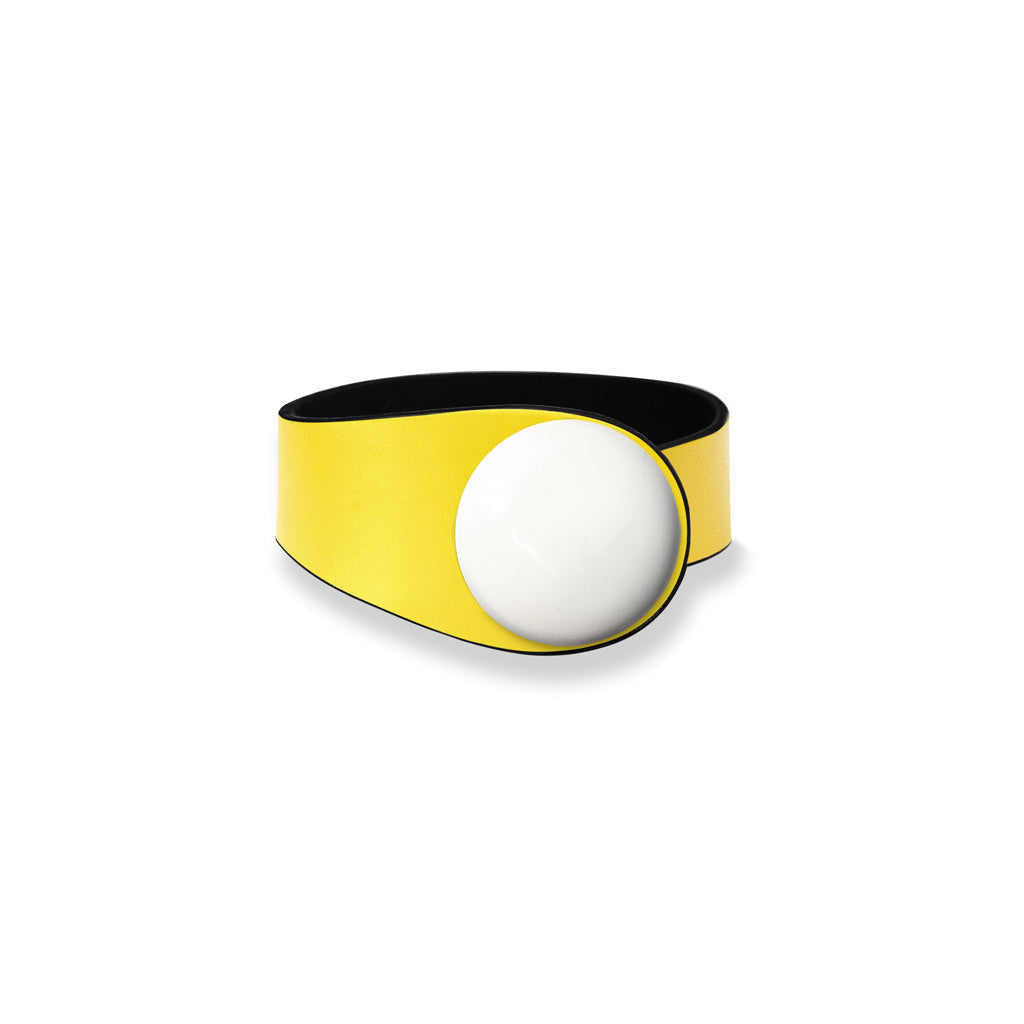 Yellow Leather Bracelet + Ceramic Button