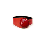 Load image into Gallery viewer, Red Leather Bracelet + Ceramic Button