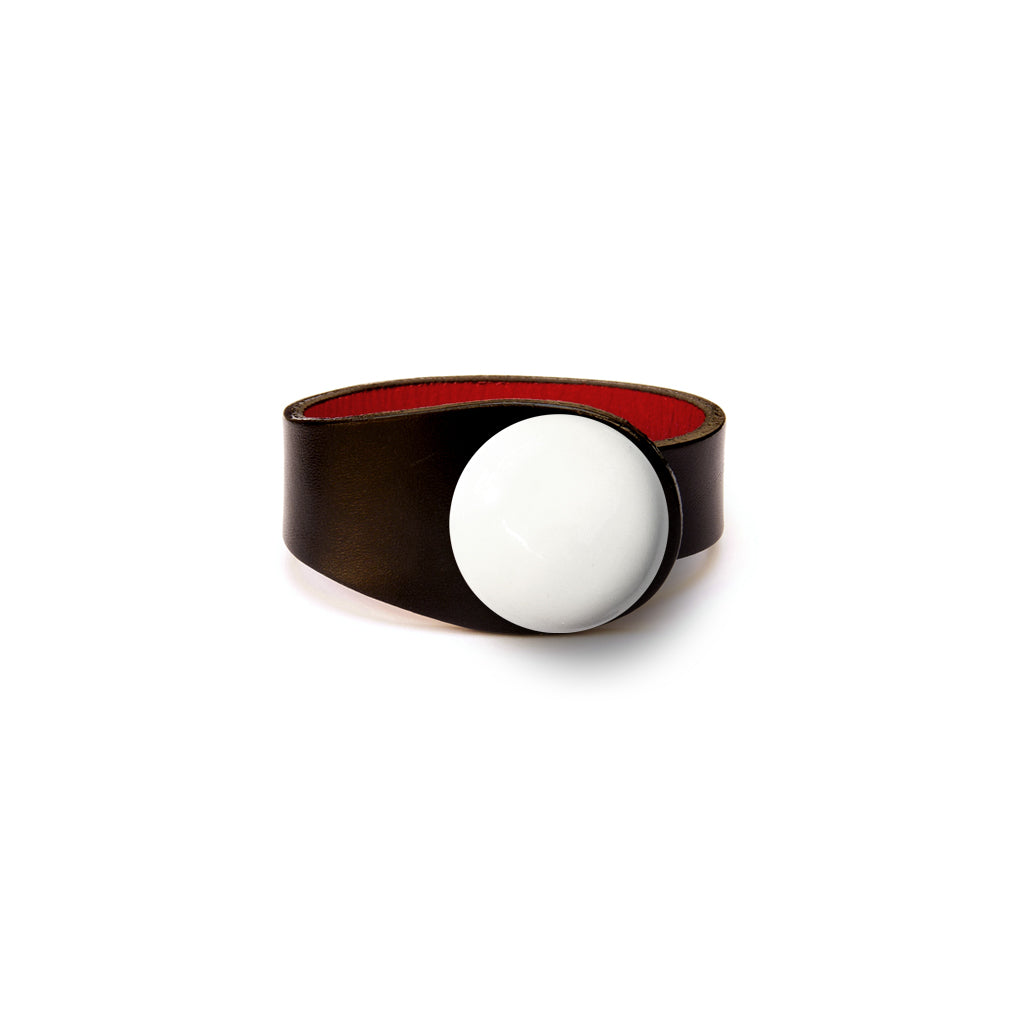 Black Leather Bracelet + Ceramic Button