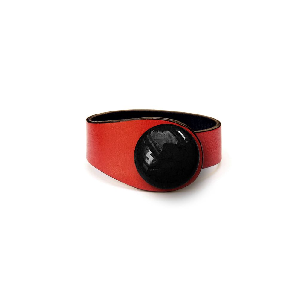 Red Leather Bracelet + Ceramic Button