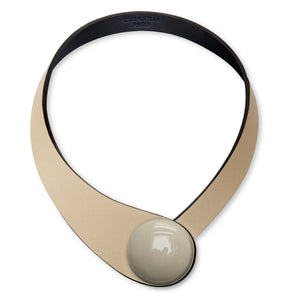 Beige Leather Necklace+ Ceramic Button
