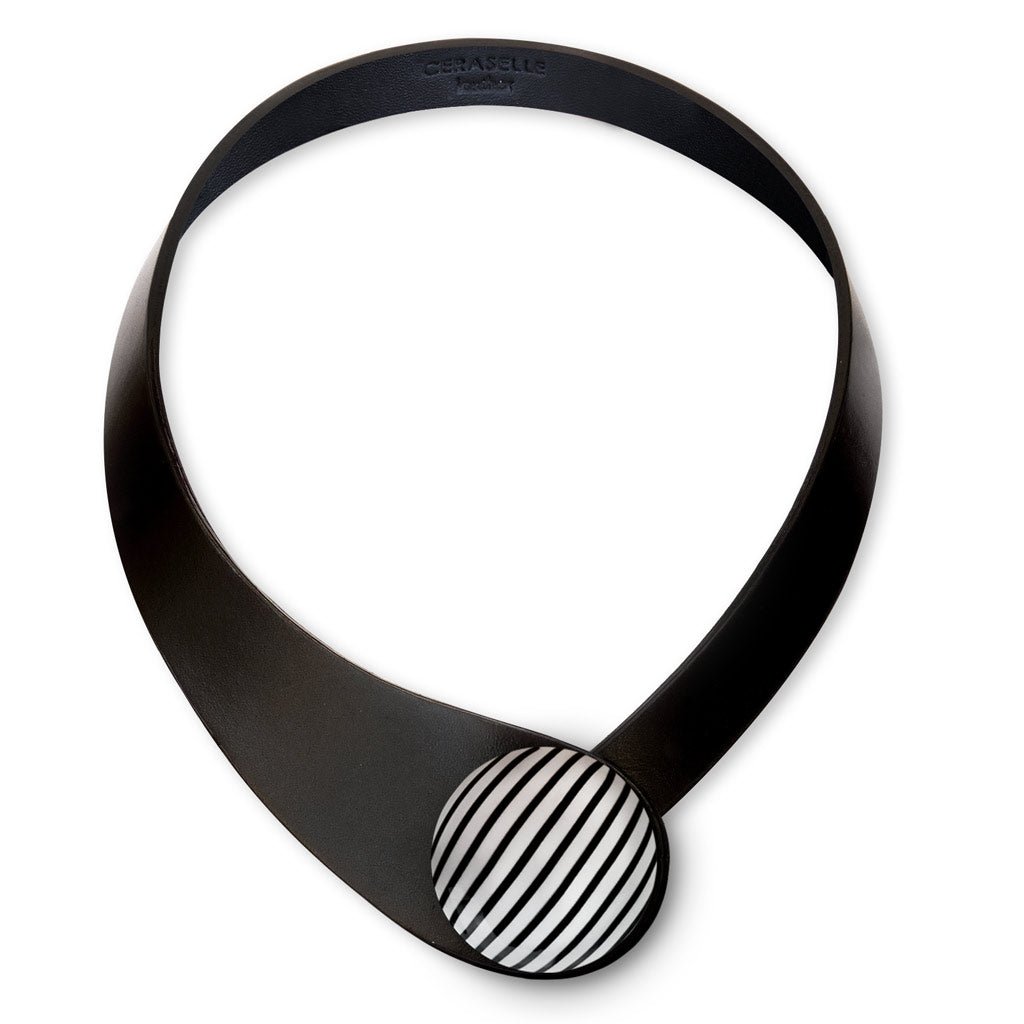 Black Leather Necklace + Ceramic Bold Button