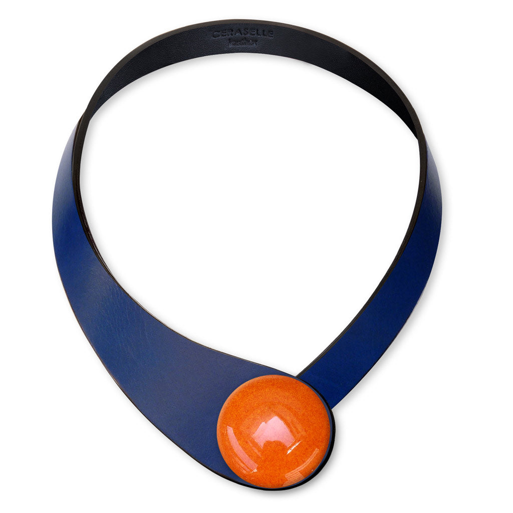 Blue Leather Necklace + Ceramic Button