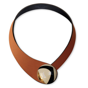 Brown Leather Necklace+ Ceramic DECO Button
