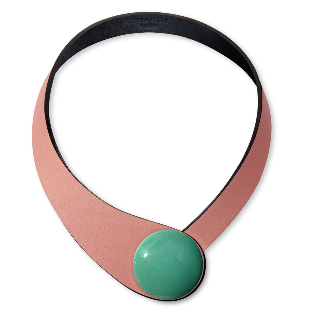 Copper Leather Necklace+ Ceramic Button
