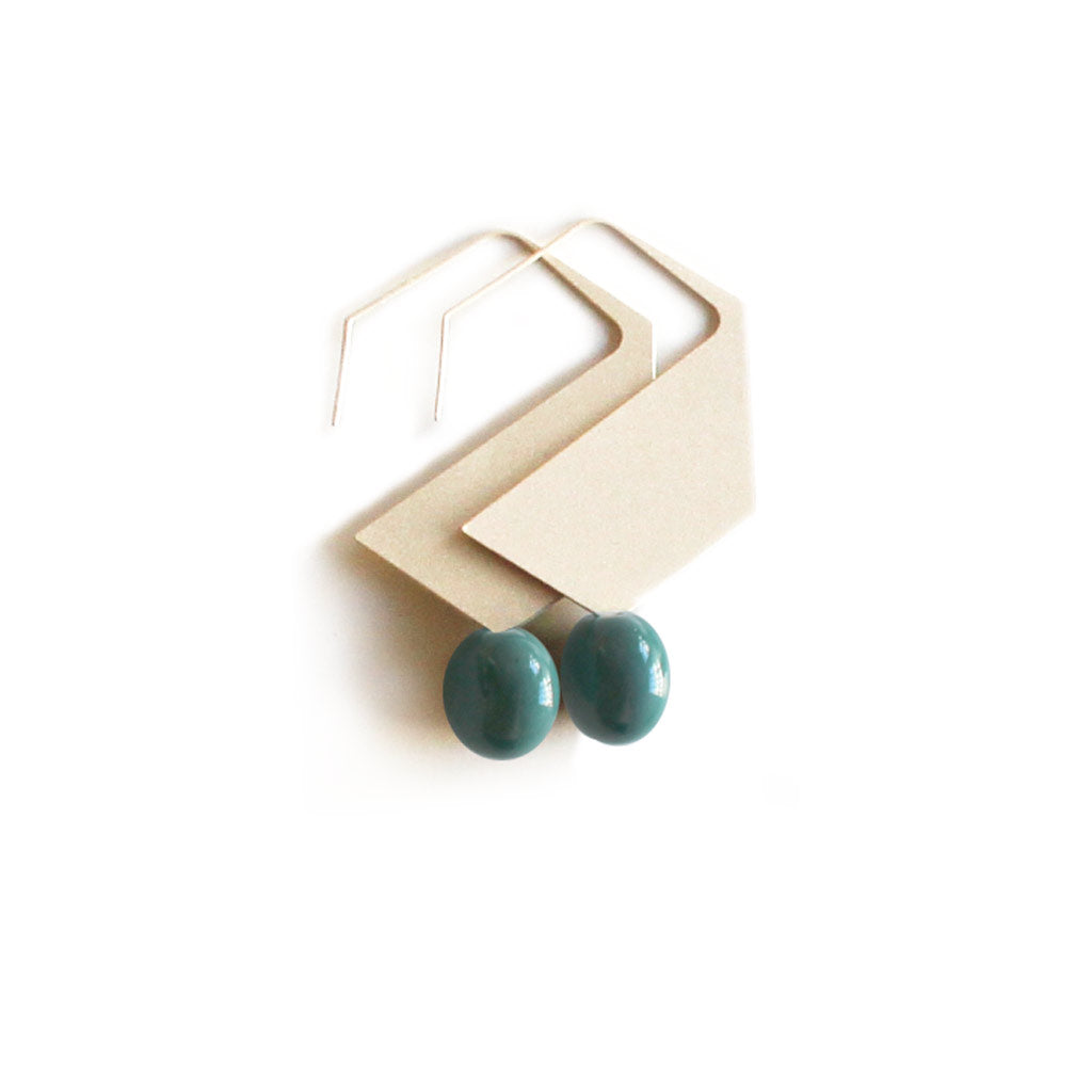 Hexagon- Earrings + ceramic drops