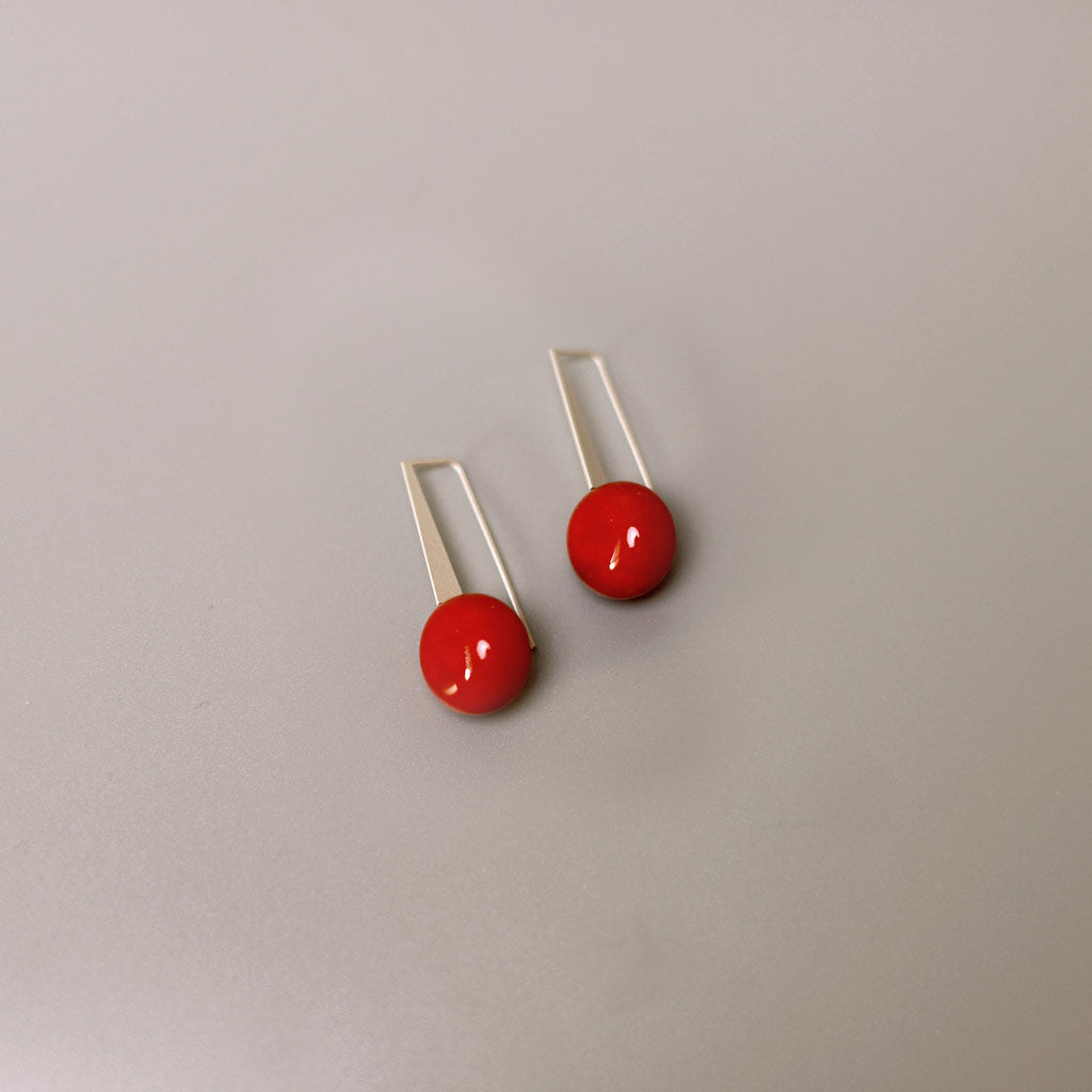 Red Short Rettangolo Earrings