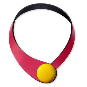 Fucsia Leather Necklace + Ceramic Button