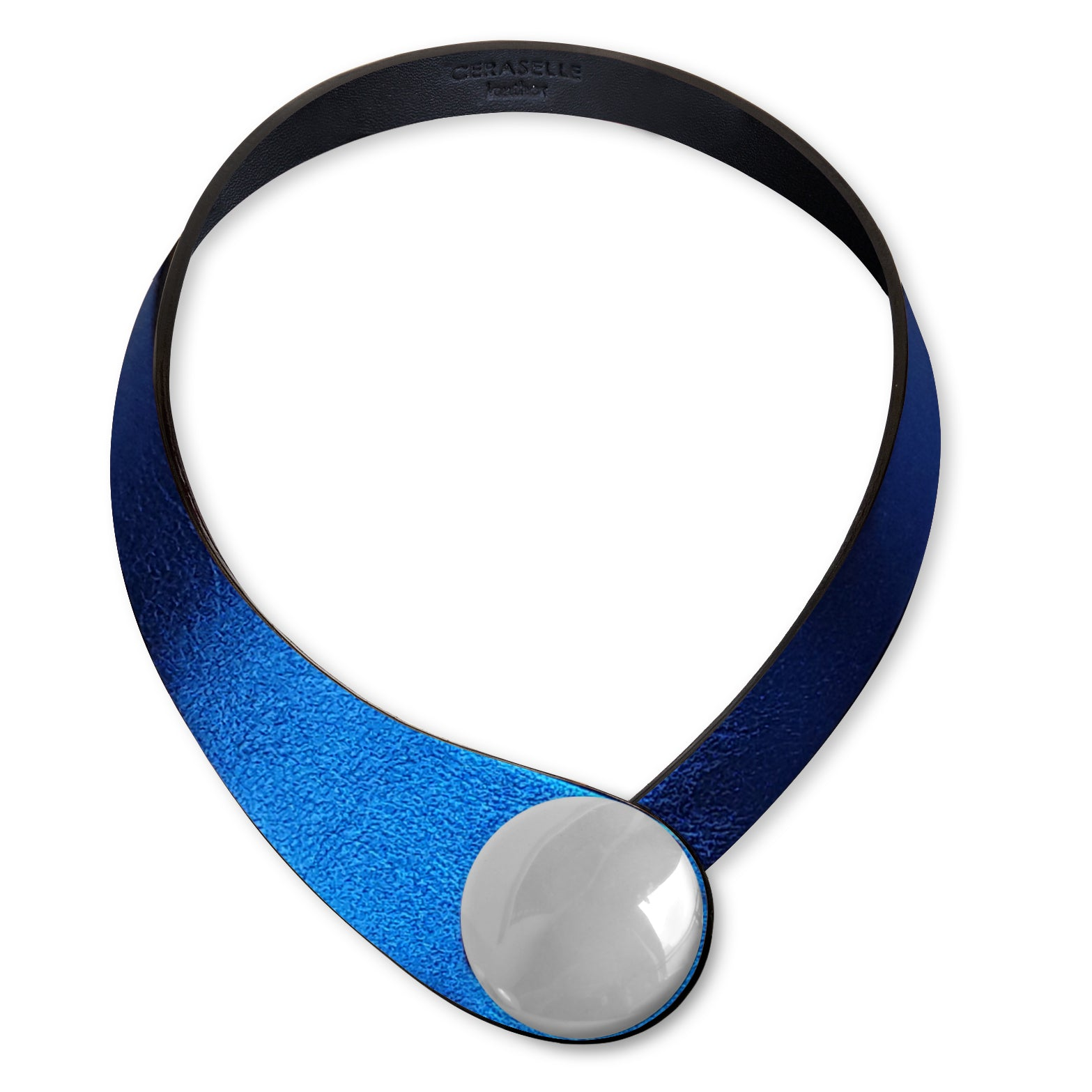 Blue Glittering Leather Necklace+ Ceramic Button