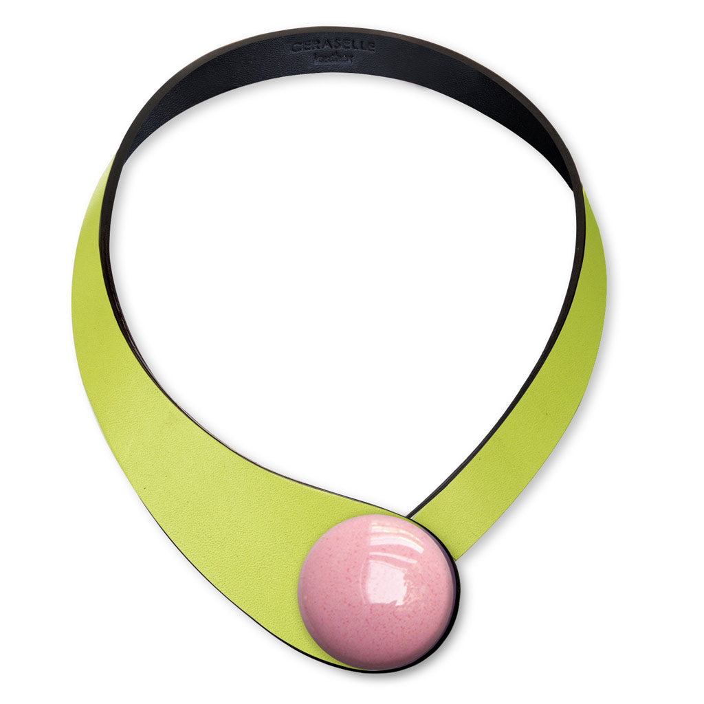 Green Leather Necklace + Ceramic Button