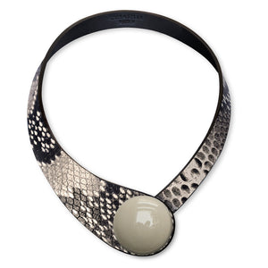 Grey Snake Printed Leather Necklace+ Ceramic Button
