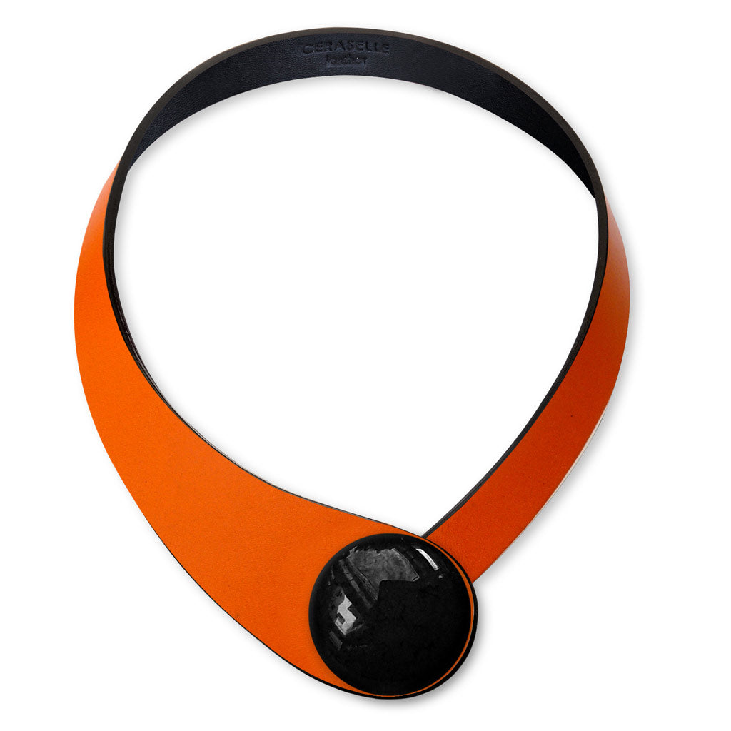 Orange Leather Necklace + Ceramic Button