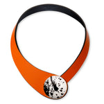 Load image into Gallery viewer, Orange Leather Necklace + Ceramic Button