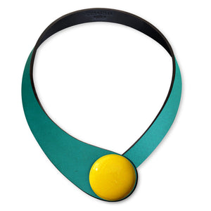 Petrol Leather Necklace + Ceramic Button