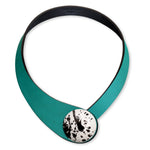 Load image into Gallery viewer, Petrol Leather Necklace + Ceramic Button