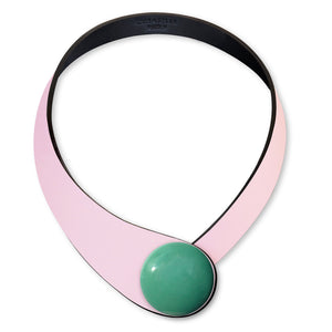 Pink Leather Necklace+ Ceramic Button