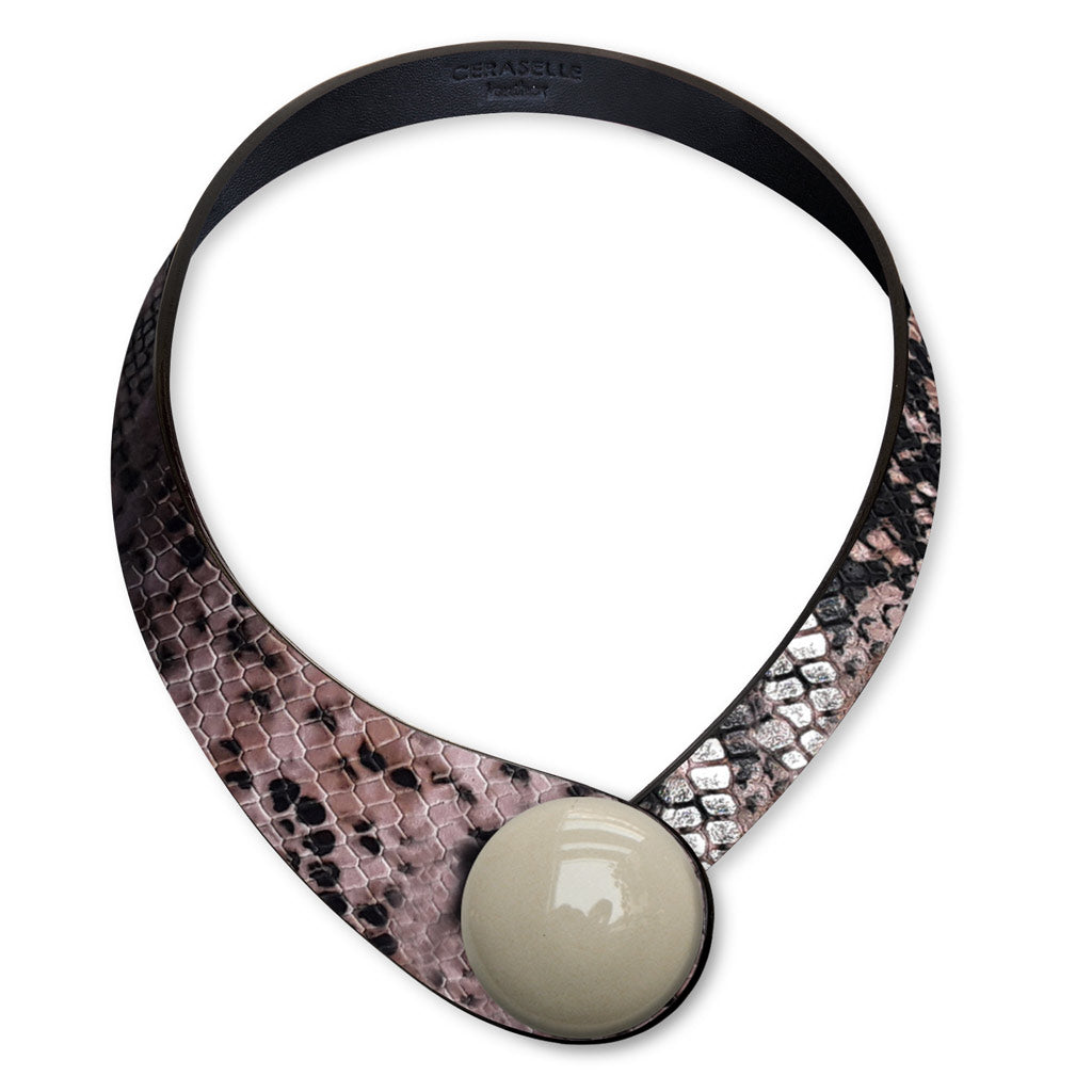 Pink Snake Printed Leather Necklace+ Ceramic Button