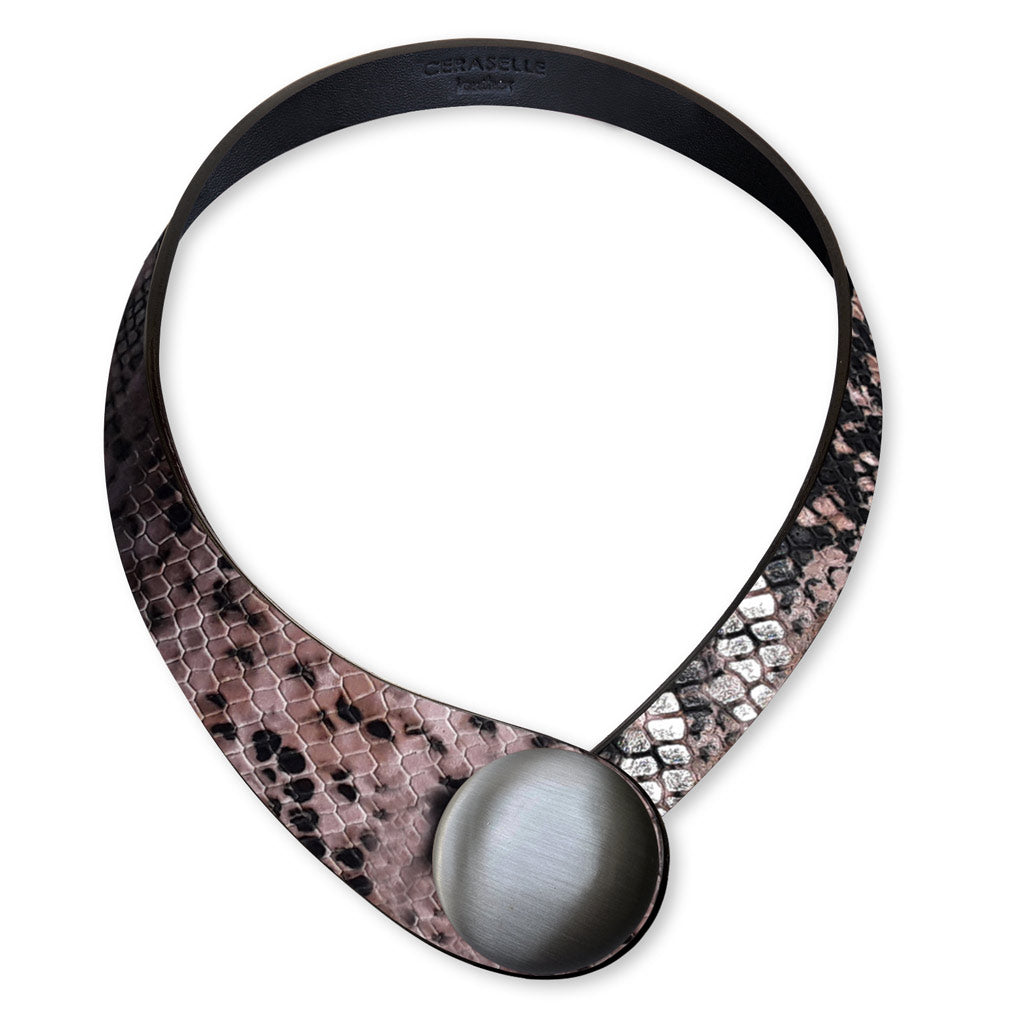 Pink Snake, Printed Leather, Necklace+ Metal Button