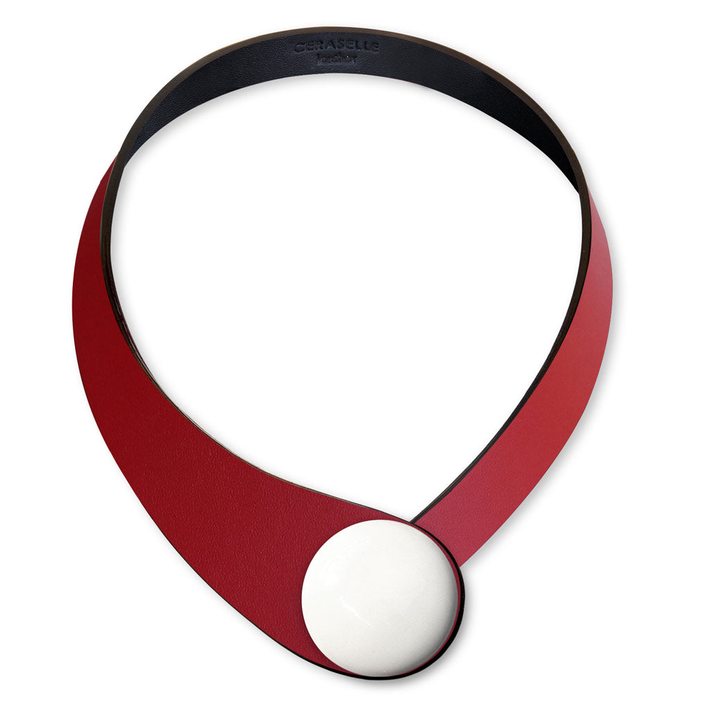 Red Leather Necklace + Ceramic Button