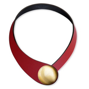 Red Leather Necklace + Metal Button