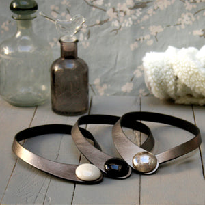Silver Leather Necklace + Ceramic Button