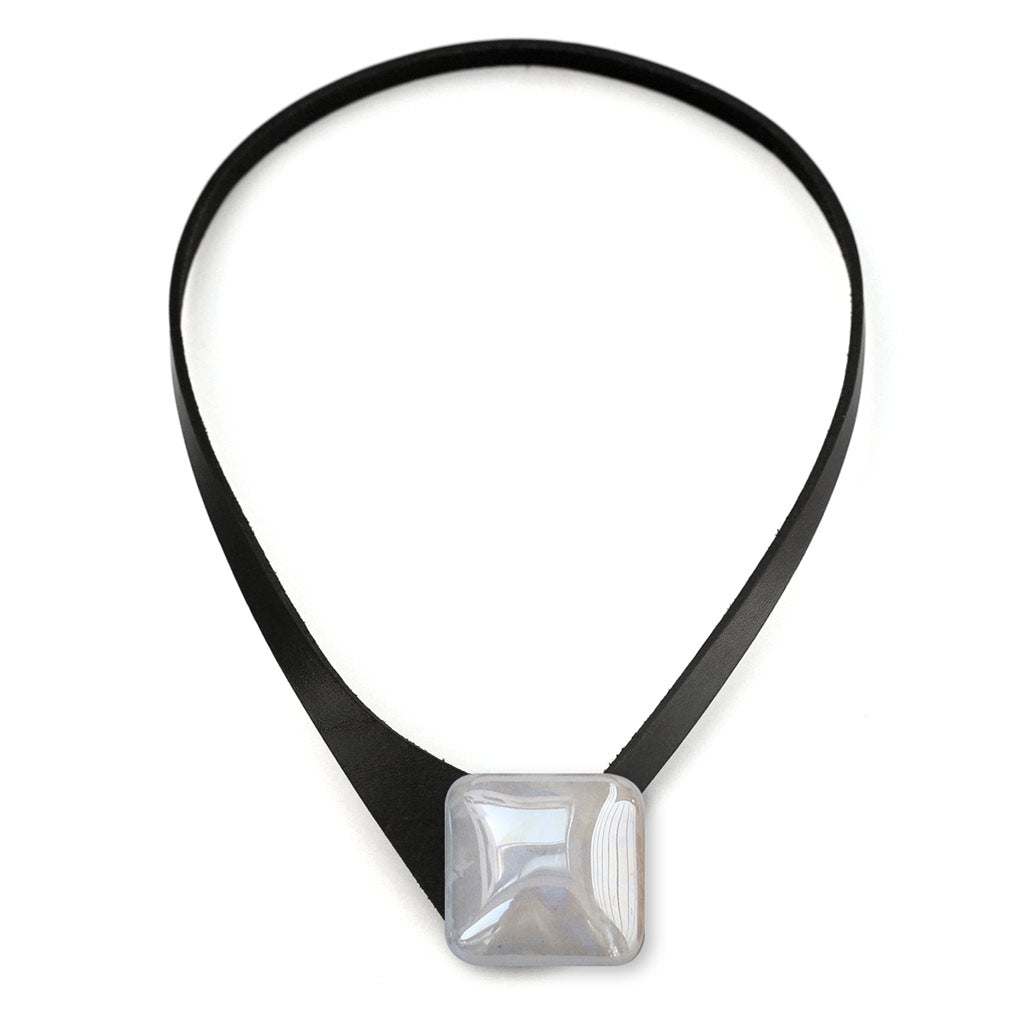 Thin Black Leather Necklace + Square Ceramic Button