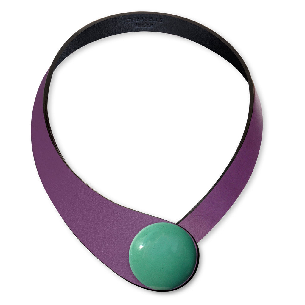 Violet Leather Necklace + Ceramic Button