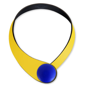 Yellow Leather Necklace + Ceramic Button