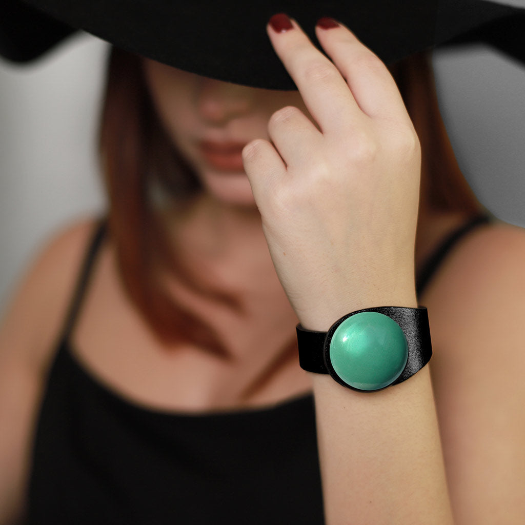 Deep Black Leather Bracelet + Petrol Ceramic Button