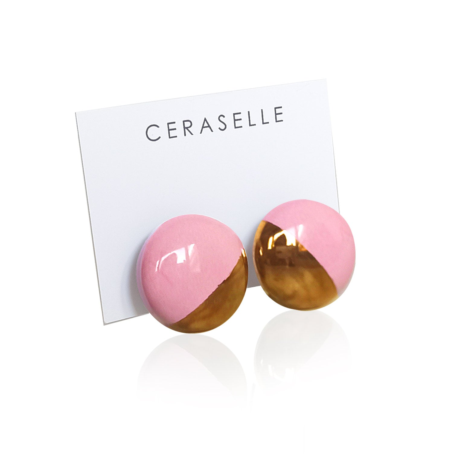 Pink & gold clip on ceramic earrings