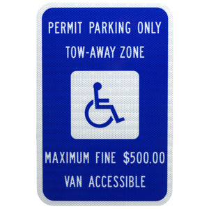 Handicap Reserved - Permit Parking Only Van Accessible - Signs Everywhere USA