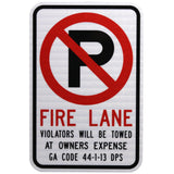 No Parking Fire Lane GA Code - Signs Everywhere USA