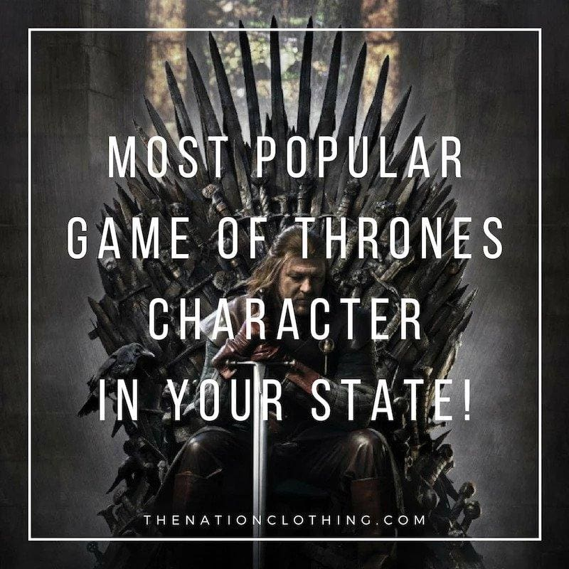 El más popular Game of Thrones personaje en tu estado!