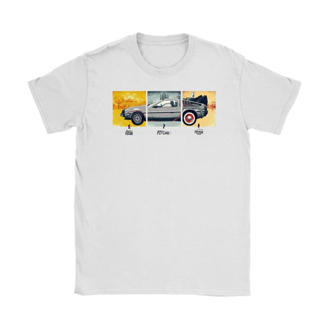 Back to the Future DeLorean Womens T-shirt - Gildan Womens T-Shirt / White / S - T-shirt