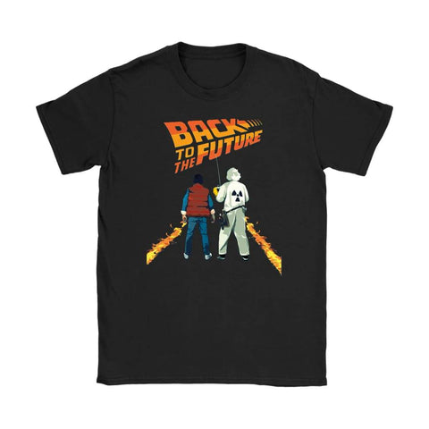 Back to the Future Marty and Doc Womens T-shirt - Gildan Womens T-Shirt / Black / S - T-shirt