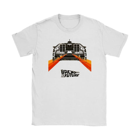 Back to the Future Minimalist Womens T-shirt - Gildan Womens T-Shirt / White / S - T-shirt