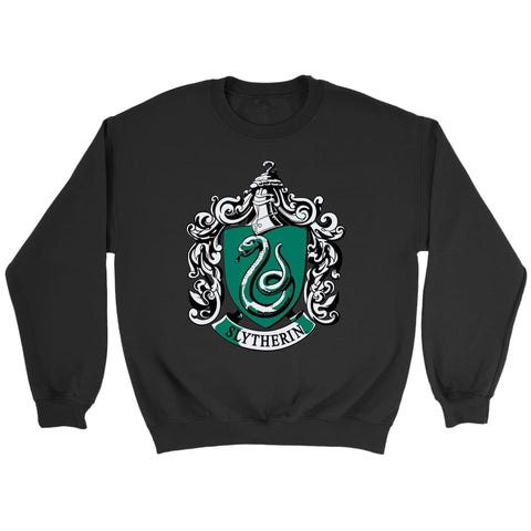 Harry Potter Slytherin Sweatshirt - Crewneck Sweatshirt / Black / S - T-shirt