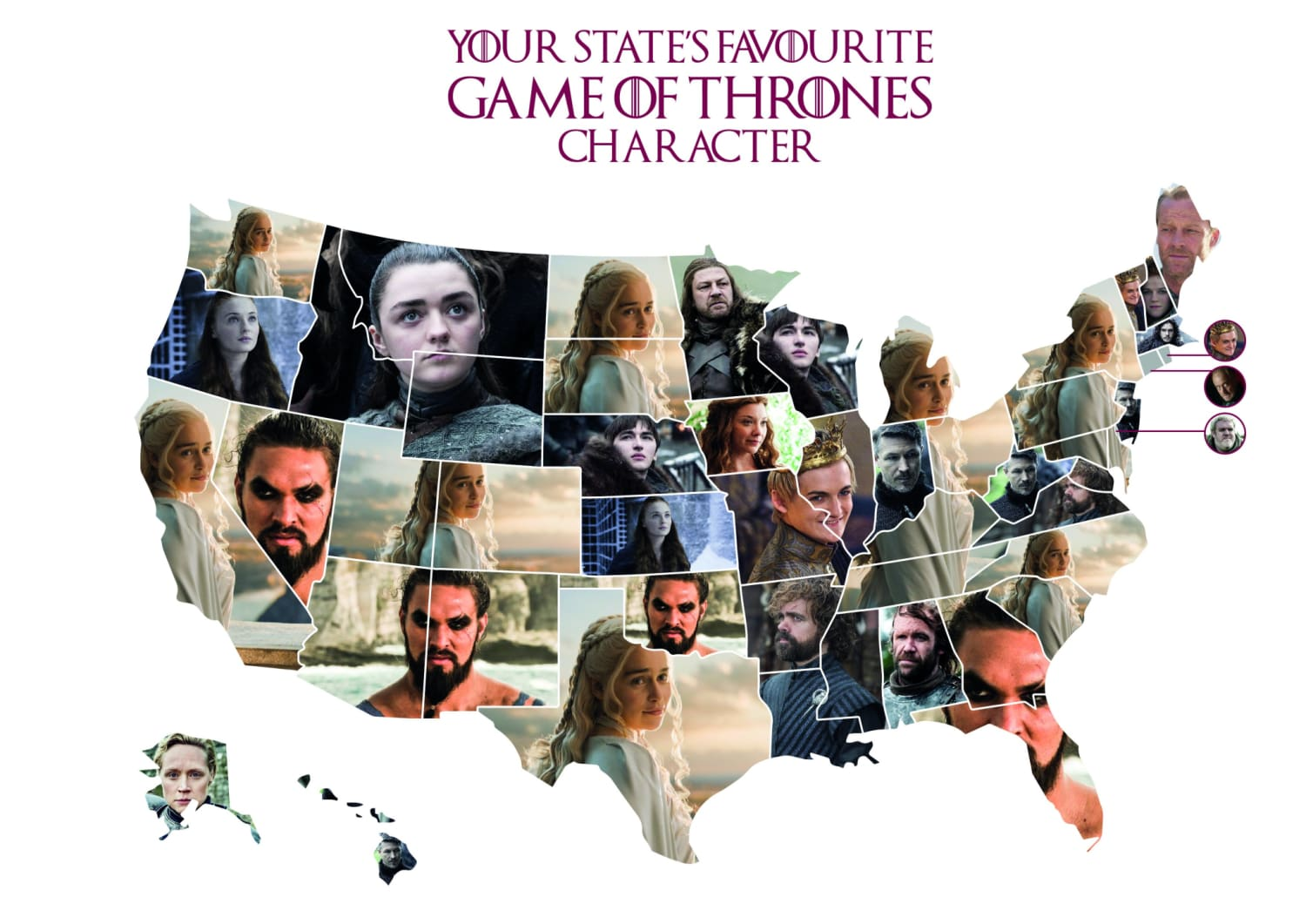 Most Popular Game of Thrones character by state (infographics)