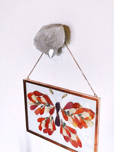 Quartz Crystal Accent, Modern Wall Hook, Crystal Picture Hanger, Crystal Jewelry Hanger