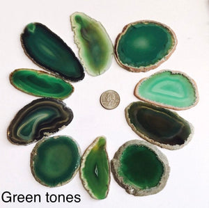 Agate slices, 2-3.5 inch geode slices in various colors, geode slice